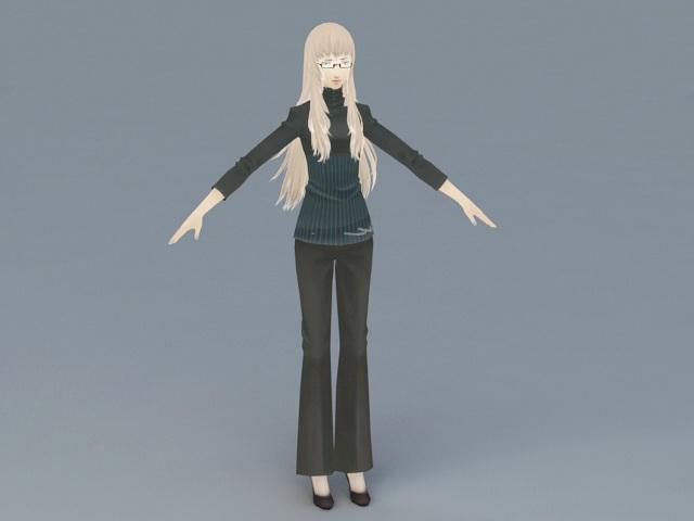 Anime Teacher Woman 3d rendering