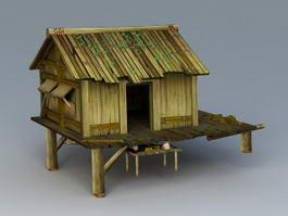 Detached Log Cabin 3d preview