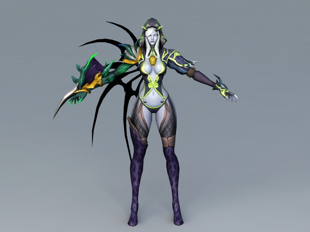Female Devil Warrior Rigged 3d rendering