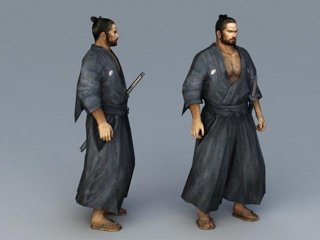 Japanese Ronin Warrior 3d rendering