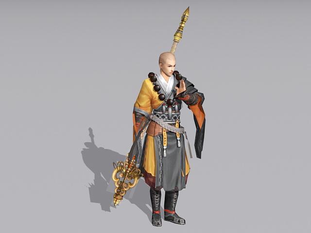 Fantasy Warrior Monk 3d rendering