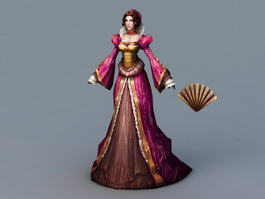 Medieval Noble Lady 3d preview