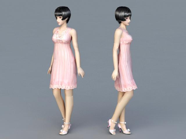 Beautiful Lady 3d rendering
