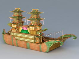 Painted Pleasure Boat 3d preview