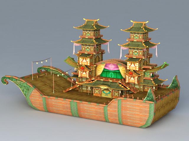 Painted Pleasure Boat 3d rendering