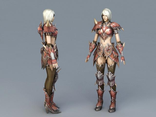 Female Medieval Knight 3d rendering