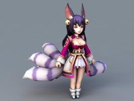 Nine-Tailed Fox Spirit Anime Girl 3d preview