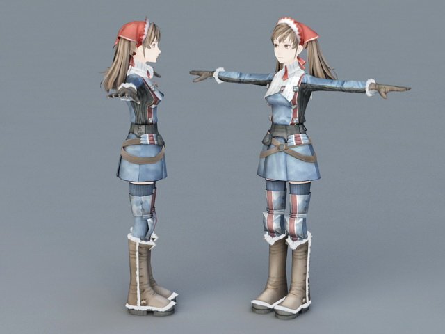 Anime Girl 3d rendering