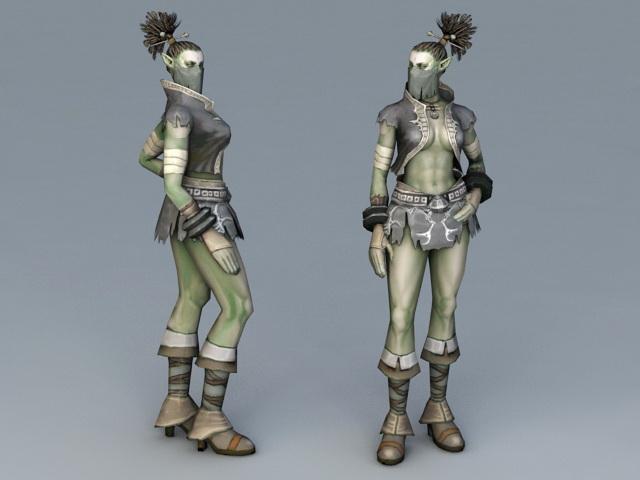 Female Half-Orc 3d rendering