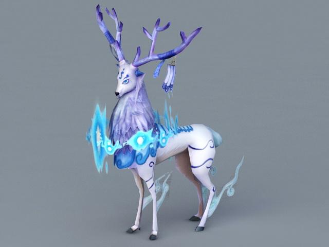 Anime Blue Reindeer 3d rendering