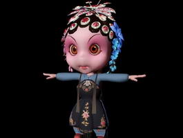 Cute Chinese Opera Character 3d model preview