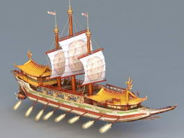 Chinese Junk Ship 3d model preview
