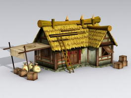 Ancient Thatched Cottage 3d model preview
