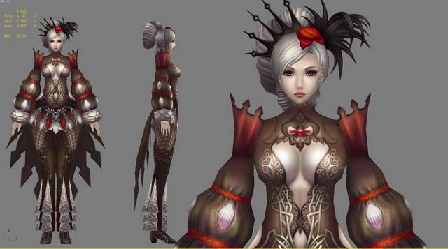 Gothic Anime Girl 3d rendering
