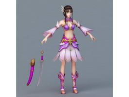 Warrior Woman with Sword 3d preview