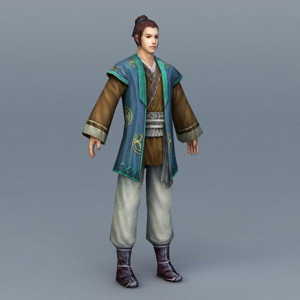 Medieval Chinese Peasant Man 3d rendering