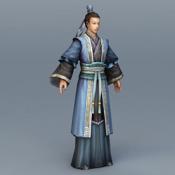 Ancient Chinese Civilian Scholar 3d rendering