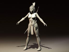 Native American Indian Woman 3d model preview