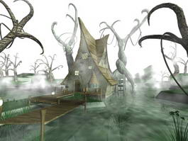 Scary Haunted House Pond 3d preview