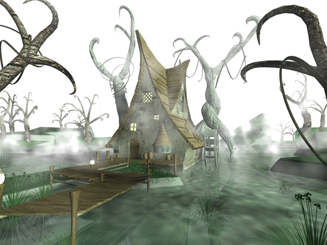 Scary Haunted House Pond 3d rendering