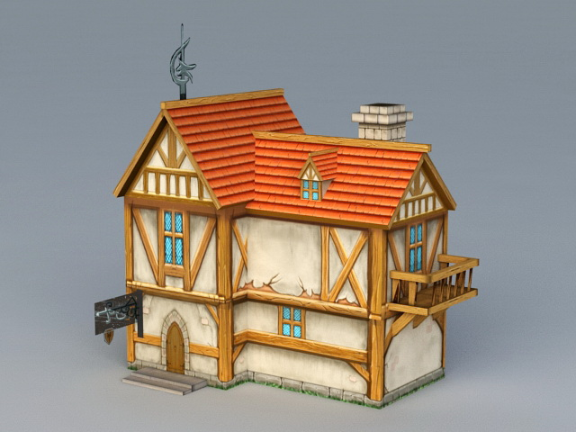 Medieval Town House 3d rendering