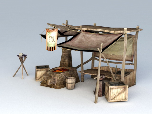 Ancient Chinese Blacksmith Workshop 3d rendering