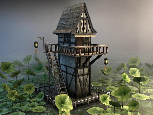 Lotus Pond Pavilion 3d rendering