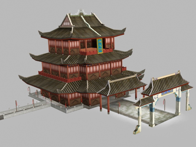 Pavilion of Prince Teng 3d rendering