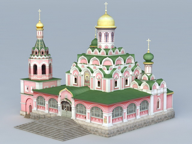 Kazan Cathedral Church 3d rendering