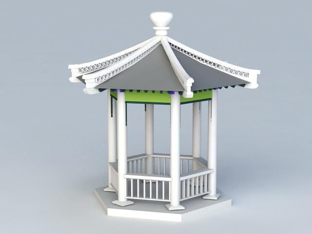 Hexagonal Pavilion 3d rendering
