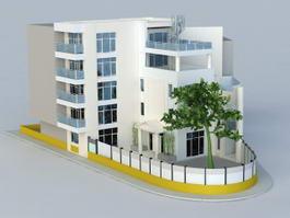 Apartment Building Corner 3d model preview