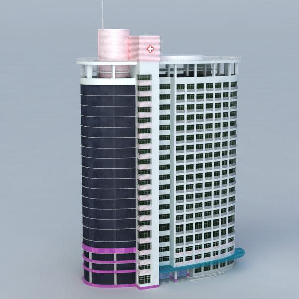 Modern City Hospital 3d rendering