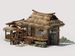 Antique Thatched Cottage 3d model preview