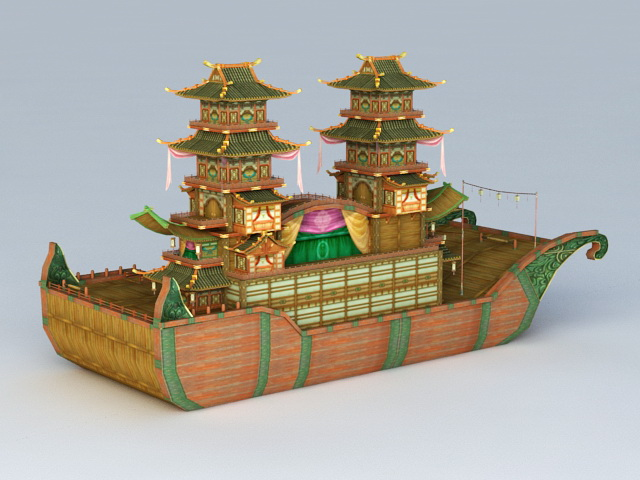 Ancient Chinese Large Pleasure Boat 3d rendering
