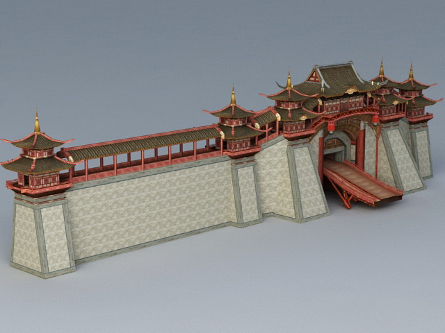 Ancient China City Wall 3d rendering