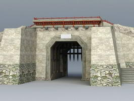 Ancient China City Gate 3d preview