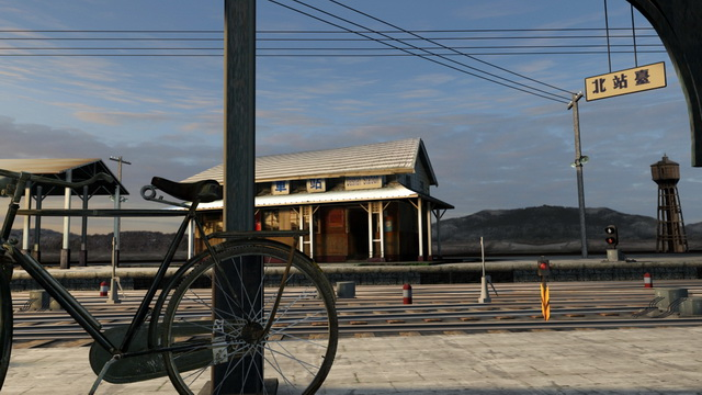 Old Train Station Scene 3d rendering