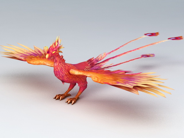 Mythical Creatures Phoenix 3d rendering
