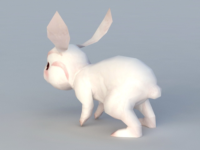 White Rabbit Cartoon 3d rendering