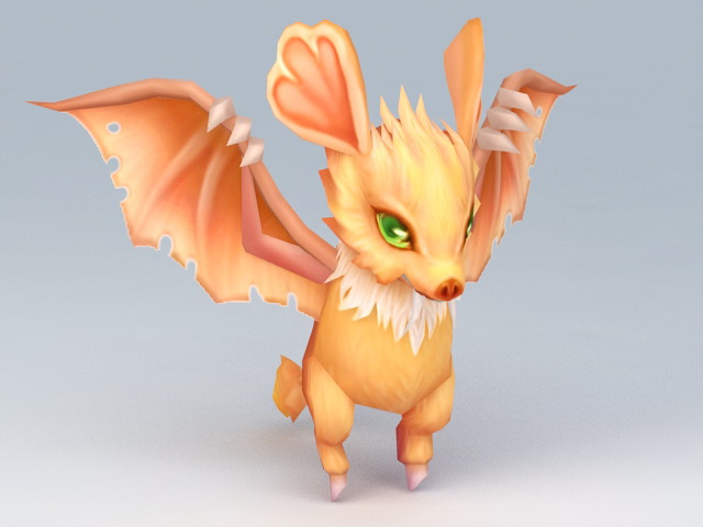 Winged Anime Squirrel Rigged 3d rendering