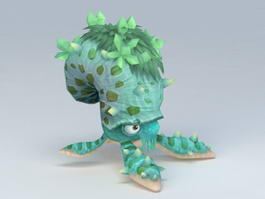 Green Tentacled Monster Rigged 3d preview