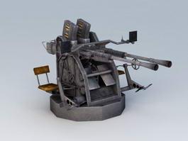25 Mm Anti-Aircraft Gun 3d model preview
