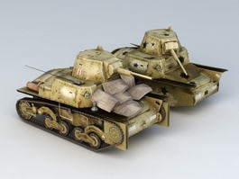 WW2 L6/40 Tank Wreck 3d preview