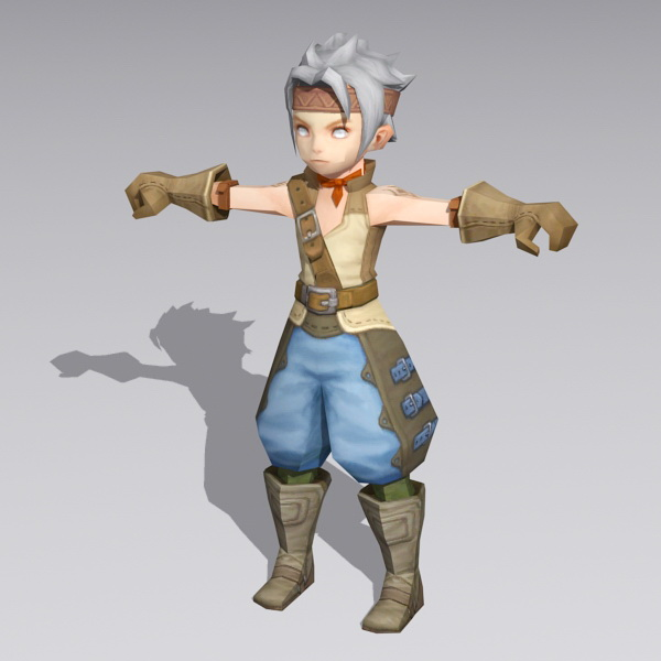 Anime Boy Warrior Rigged 3d rendering