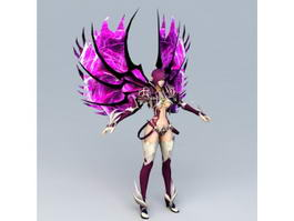 Purple Warrior Angel Rigged 3d preview