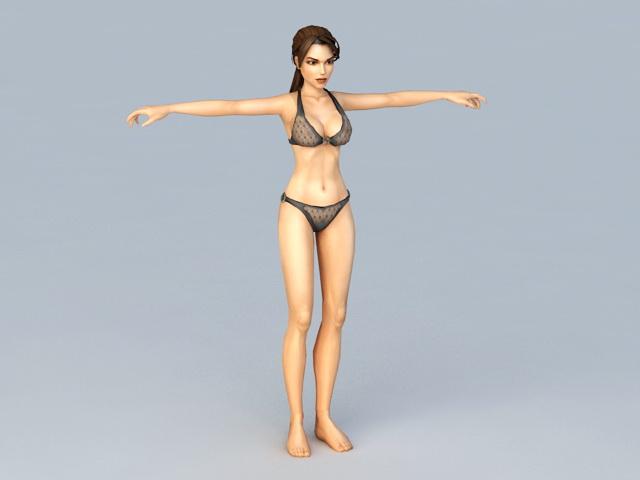 Black Bikini Woman 3d rendering