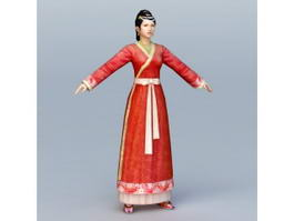 Ancient Chinese Young Woman 3d preview