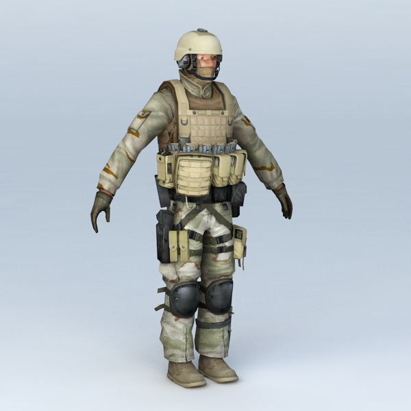 Desert Soldier 3d Model 3ds Max Files Free Download