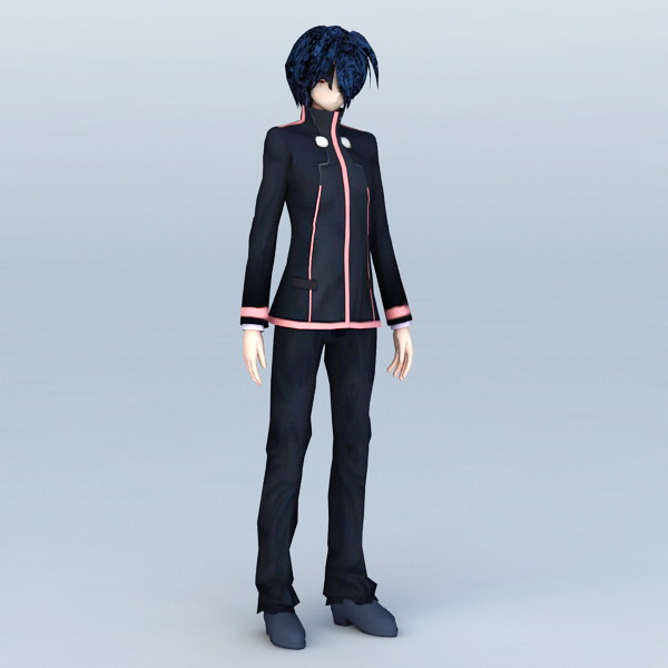 Anime Guy High School 3d rendering