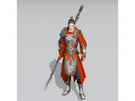 Asian Male Warrior with Spear 3d preview